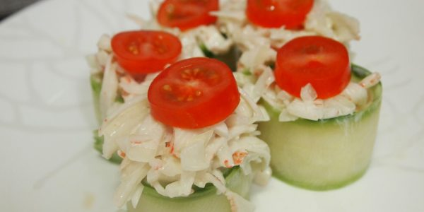 Cucumber Sushi with Crab Meat